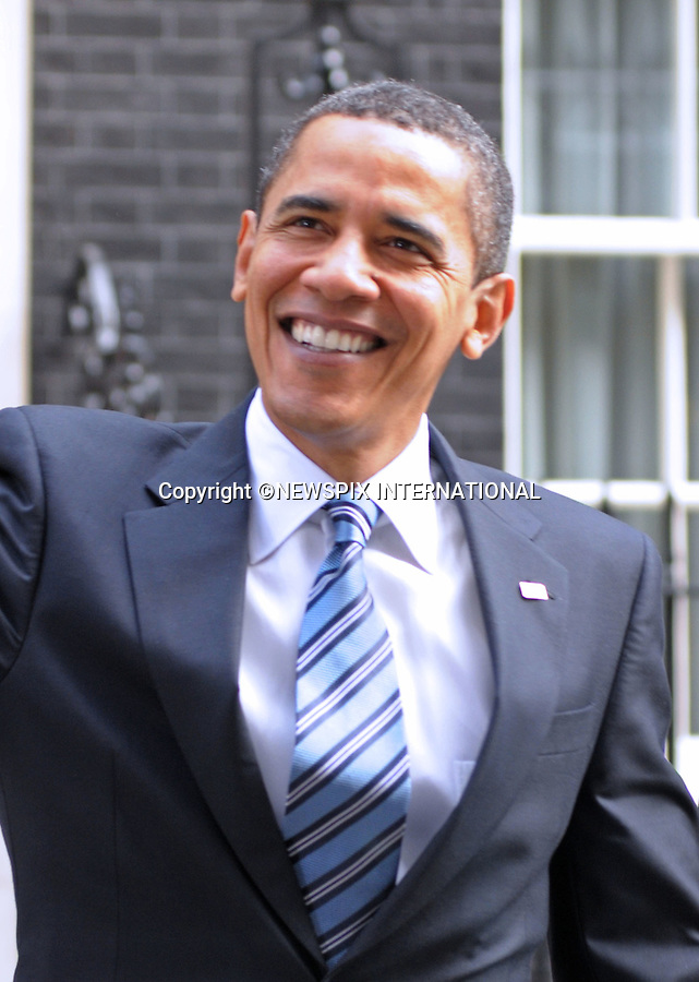 PRESIDENT BARACK OBAMA.at No.10 Downing Street, London_01/04/2009.Prime Minister Gordon Brown looked a worried man for most of the time..The Obamas are in  London for the G20 Summit.PHOTO CREDIT MANDATORY: ©Dias/NEWSPIX INTERNATIONAL  .(Failure to by-line the photograph will result in an additional 100% reproduction fee surcharge)..            *** ALL FEES PAYABLE TO: NEWSPIX INTERNATIONAL ***..IMMEDIATE CONFIRMATION OF USAGE REQUIRED:Tel:+441279 324672..Newspix International, 31 Chinnery Hill, Bishop's Stortford, ENGLAND CM23 3PS.Tel: +441279 324672.Fax: +441279 656877.Mobile: +447775681153.e-mail: info@newspixinternational.co.uk