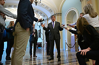 United States Senator Joe Manchin III (Democrat of West Virginia) speaks to members of the media at the United States Capitol in Washington D.C., U.S. on Tuesday, March 24, 2020.  The Senate is working to finalize a deal on the Coronavirus Stimulus Package, after it was blocked by Senate Democrats two days in a row.  Credit: Stefani Reynolds / CNP/AdMedia