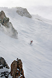 USA, California, Mammoth, USA, California, Mammoth, a skier carves their way down a run at Mammoth Ski Resort