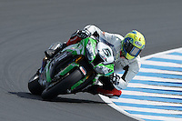 Alexander Lundh (SWE) riding the Kawasaki ZX-10R (5) of the Pedercini Team rounds turn 6 during a qualifying session on day one of round one of the 2013 FIM World Superbike Championship at Phillip Island, Australia.