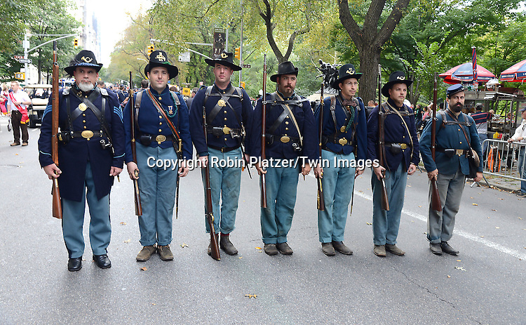 Civil War reinactors marchs in the Steuben Parade on Fifth Avenue in New York City on September 20. 2014. <br /> <br /> photo by Robin Platzer/Twin Images<br />  <br /> phone number 212-935-0770