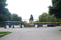 WASHINGTON, D.C. - JUNE 25: The National Park Service, in response to threats to topple Emancipation Memorial, fence it off to the public and provide security to deter any damage. The statue depicts Abraham Lincoln standing over a kneeling black slave. June 25, 2020 in Washington, D.C. <br /> CAP/MPI34<br /> ©MPI34/Capital Pictures