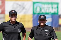 Umpires Phil Bando and Edgar Morales before the game between the Idaho Falls Chukars and the Ogden Raptors in Pioneer League action at Lindquist Field on July 2, 2017 in Ogden, Utah. Ogden defeated Idaho Falls 6-5. (Stephen Smith/Four Seam Images)