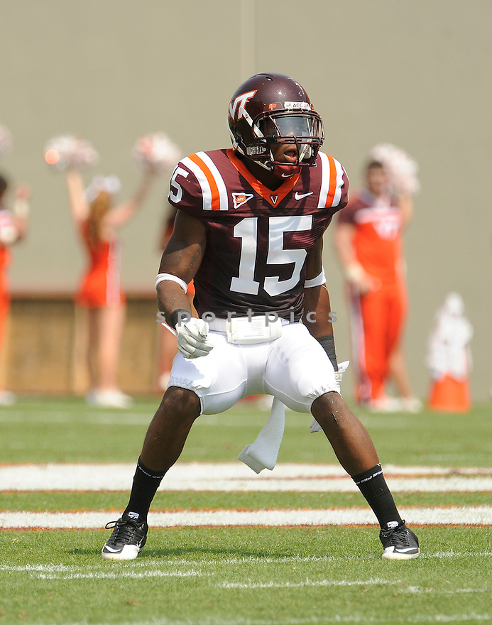 EDDIE WHITLEY, of the Virginia Tech Hokies, in action during the Hokies game against Appalachian State on September 3, 2011, at Lane Stadium in Blacksburg, VA.  Virginia Tech beat Appalachian State 66-13.