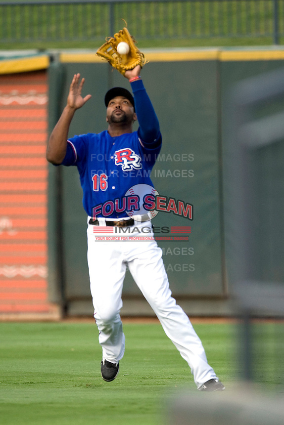 Round Rock Express outfielder Joey Butler #16 make a catch during a game against the Memphis Redbirds at the Dell Diamond on July 10, 2011in Round Rock, Texas.  Memphis defeated Round Rock 10-9.  (Andrew Woolley / Four Seam Images)