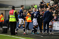 Millwall Manager, Neil Harris embraces Tim Cahill as he leaves the pitch after Millwall's 1-0 victory during Millwall vs Brentford, Sky Bet EFL Championship Football at The Den on 10th March 2018