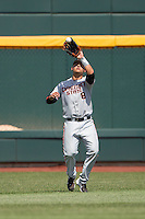 Oregon State outfielder Michael Conforto (8) makes a catch during Game 11 of the 2013 Men's College World Series against the Mississippi State Bulldogs on June 21, 2013 at TD Ameritrade Park in Omaha, Nebraska. The Bulldogs defeated the Beavers 4-1, to reach the CWS Final and eliminating Oregon State from the tournament. (Andrew Woolley/Four Seam Images)