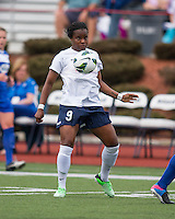 Sky Blue FC forward Danesha Adams (9) traps the ball with her chest.  In a National Women's Soccer League Elite (NWSL) match, Sky Blue FC defeated the Boston Breakers, 3-2, at Dilboy Stadium on June 16, 2013