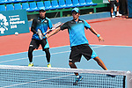 Kento Masuda & Toshiki Uematsu (JPN), <br /> AUGUST 31, 2018 - Soft Tennis : <br /> Men's Team  Preliminary Round <br /> at Jakabaring Sport Center Tennis Courts <br /> during the 2018 Jakarta Palembang Asian Games <br /> in Palembang, Indonesia. <br /> (Photo by Yohei Osada/AFLO SPORT)