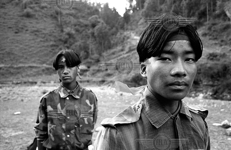 Young Maoists in a village in Ropla District, one of the Maoist strongholds during the 1996 - 2006 civil war.