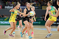 23.09.2018 Silver Ferns Gina Crampton in action during the Silver Ferns v Australia netball test match at the Melbourne Arena in Melbourne, Australia. Mandatory Photo Credit ©Michael Bradley.