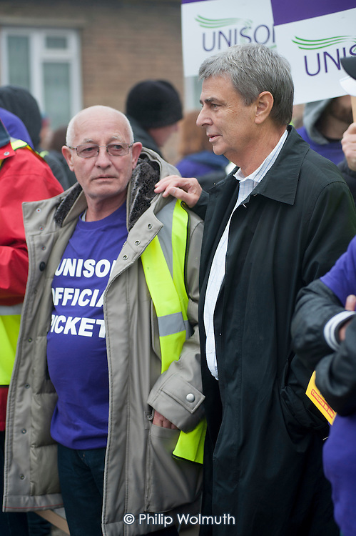 Dave Prentis joins Barnet Unison picket at Mill Hill Depot during strike over outsourcing of services including  catering, street cleaning and refuse collection