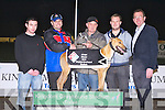 PRESENTATION: Batt O'Shea, The Spa owner of being Labana Zig winner of the Dominos Pizza sweepstake final being presented the winners trophy by William Schmidt (Dominos Pizza) at the Kingdom Greyhound Stadium on Friday l-r: Darragh O'Shea, William Schmidt (Dominos Pizza), Batt O'Shea, Kevin O'Connor and Declan Dowling (sales and operational manager KGS).