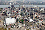 "Aerial photograph of downtown Detroit, Mich. taken from on board the Akron, Ohio based ""Spirit of Goodyear"" airship on Monday, July 11, 2005 as it headed out to the start of the 2005 Major League Baseball All-Stars Homerun Derby at Comerica Park (Photo by Tony Ding)"