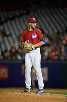 Buffalo Bisons relief pitcher Justin Shafer (33) gets ready to deliver a pitch during a game against the Syracuse Chiefs on July 6, 2018 at Coca-Cola Field in Buffalo, New York.  Buffalo defeated Syracuse 6-4.  (Mike Janes/Four Seam Images)