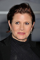"""27 December 2016 - Carrie Fisher, the iconic actress who portrayed Princess Leia in the Star Wars series, died Tuesday following a massive heart attack. Carrie Frances Fisher an American actress, screenwriter, author, producer, and speaker, was the daughter of singer Eddie Fisher and actress Debbie Reynolds. File Photo: 7 April 2011 - Hollywood, California - Carrie Fisher. Logo's """"NewNowNext Awards"""" 2011 Held At Avalon. Photo Credit: Byron Purvis/AdMedia"""