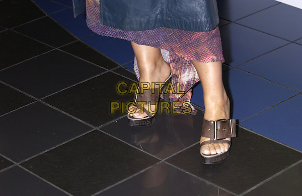 ANASTASIA.At the special celebrity and film industry screening of Farenheit 9/11, Vue cinema, Leicester Square, London,.28th June 2004..close up shoes brown high mules open toe.Ref: PL.www.capitalpictures.com.sales@capitalpictures.com.©Capital Pictures