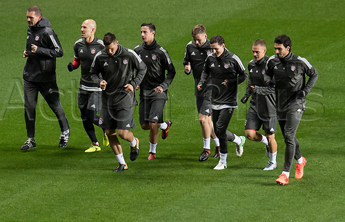 30th October 2017; Glasgow, Scotland;  The players of FC Bayern Munich during a final training session at Celtic Park in Glasgow, Scotland, 30 October 2017. Munich will meet Celtic Glasgow in a Champions League group phase match on the 31 October 2017.