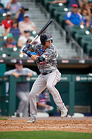 Pawtucket Red Sox Bobby Dalbec (15) at bat during an International League game against the Buffalo Bisons on August 25, 2019 at Sahlen Field in Buffalo, New York.  Buffalo defeated Pawtucket 5-4  (Mike Janes/Four Seam Images)