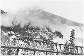 RGS #20 crossing trestle 45-A with mixed train.<br /> RGS  Ophir, CO  1/1916