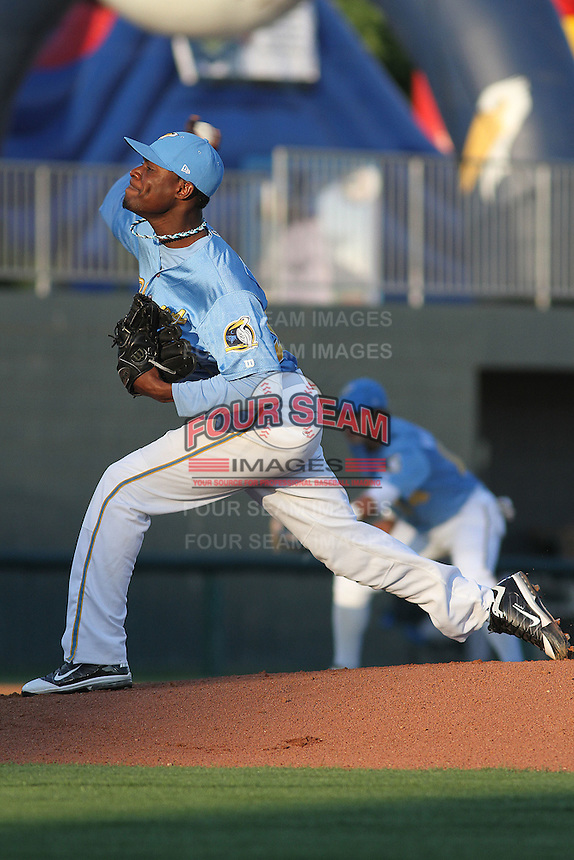 Myrtle Beach Pelicans pitcher Roman Mendez #30 pitching during a game against the Frederick Keys at Tickerreturn.com Field at Pelicans Ballpark on April 24, 2012 in Myrtle Beach, South Carolina. Frederick defeated Myrtle Beach by the score of 8-3. (Robert Gurganus/Four Seam Images)