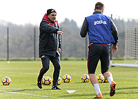 Manager Carlos Carvalhal watches his players train during the Swansea City Training at The Fairwood Training Ground, Swansea, Wales, UK. Wednesday 21 February 2018