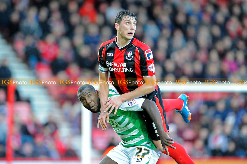 Tommy Elphick of AFC Bournemouth climbs over Ishmael Miller of Yeovil Town - AFC Bournemouth vs Yeovil Town - Sky Bet Championship Football at the Goldsands Stadium, Bournemouth, Dorset - 26/12/13 - MANDATORY CREDIT: Denis Murphy/TGSPHOTO - Self billing applies where appropriate - 0845 094 6026 - contact@tgsphoto.co.uk - NO UNPAID USE