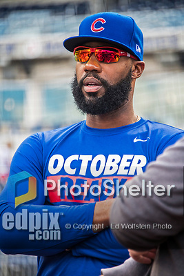 7 October 2017: Chicago Cubs outfielder Jason Heyward chats with media prior to a game against the Washington Nationals at Nationals Park in Washington, DC. The Nationals defeated the Cubs 6-3 and even their best of five Postseason series at one game apiece. Mandatory Credit: Ed Wolfstein Photo *** RAW (NEF) Image File Available ***