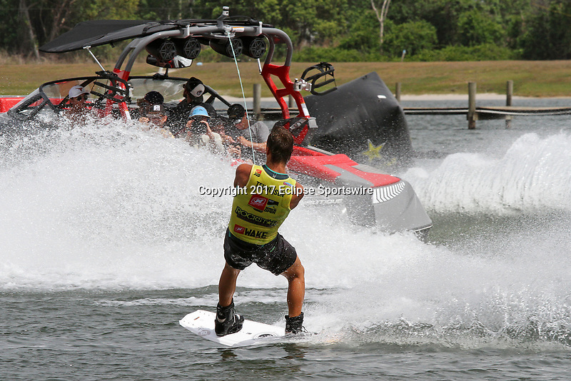 ORLANDO, FL - April 30: Reigning champion, Cory Teunissen AUS finishes in 4th place of the Men's Professional Division Final of the WWA Nautique Wake Open 2017 at  the Orlando Watersports Complex on April 30, 2017 in Orlando, Florida. (Photo by Liz Lamont/Eclipse Sportswire/Getty Images)