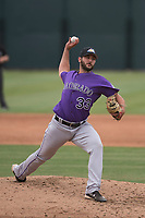 Colorado Rockies relief pitcher Colton Hathcock (33) delivers a pitch to the plate during an Extended Spring Training game against the Arizona Diamondbacks at Salt River Fields at Talking Stick on April 16, 2018 in Scottsdale, Arizona. (Zachary Lucy/Four Seam Images)