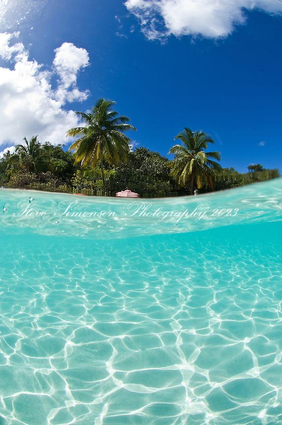 Hawksnest Beach split level.Virgin Islands National Park.St. John, US Virgin Islands