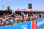 AG2R La Mondiale at sign on before Stage 1 of the 100th edition of the Giro d'Italia 2017, running 206km from Alghero to Olbia, Sardinia, Italy. 4th May 2017.<br /> Picture: Ann Clarke | Cyclefile<br /> <br /> <br /> All photos usage must carry mandatory copyright credit (&copy; Cyclefile | Ann Clarke)