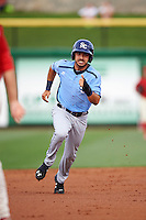 Charlotte Stone Crabs designated hitter Pat Blair (5) running the bases during a game against the Clearwater Threshers on April 12, 2016 at Bright House Field in Clearwater, Florida.  Charlotte defeated Clearwater 2-1.  (Mike Janes/Four Seam Images)