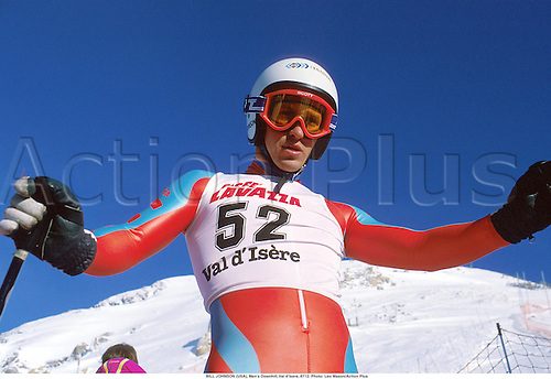 BILL JOHNSON (USA), Men's Downhill, Val d'Isere, 8712. Photo: Leo Mason/Action Plus...1987.alpine skiing.portrait.winter sport.winter sports.wintersport.wintersports.ski.skier.man