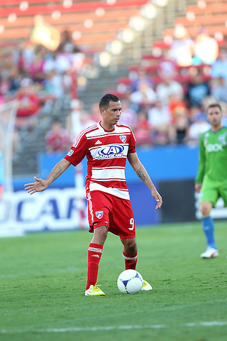 FRISCO, TX - SEPTEMBER 2: Blas Perez #9 of FC Dallas in action against the Seattle Sounders FC at FC Dallas Stadium on September 2, 2012 in Frisco, Texas. (Photo by Rick Yeatts)