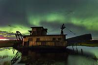Historic gold mining dredge in Nome, Alaska.