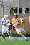 Los Angeles, CA 02-26-17 - Givino Rossini (Loyola Marymount #7) and Casey Mix (UCSB #38) in action during the MCLA conference game between LMU and UC Santa Barbara.  Santa Barbara defeated LMU 15-0.