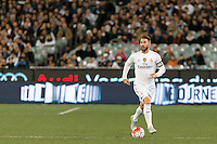 Melbourne, 18 July 2015 - Sergio Ramos of Real Madrid runs with the ball in game one of the International Champions Cup match at the Melbourne Cricket Ground, Australia. Roma def Real Madrid 7-6 Penalties. Photo Sydney Low/AsteriskImages.com