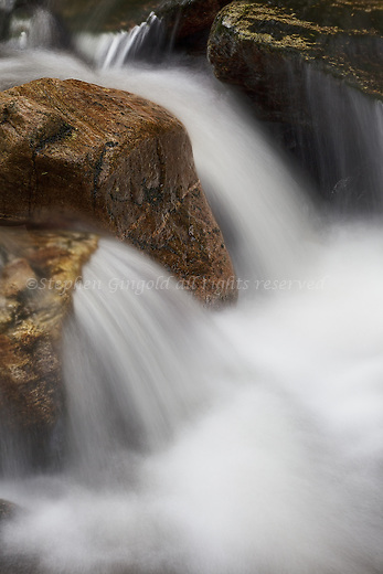 A closeup of a cascade along Dean Brook in Shutesbury, MA.