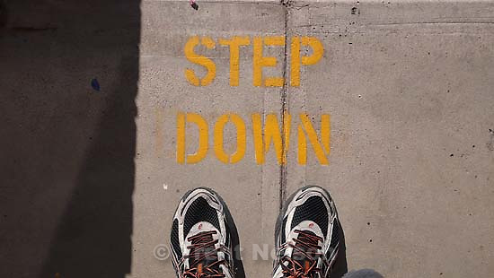 "Trent feet and ""step down"" sign, stencil"
