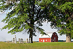 Red barn and family cemetery, rural Ill.