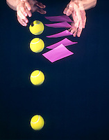 FALLING BALL &amp; PAPER -stroboscopic<br /> Newton's Second Law of Motion<br /> The 3&quot; tennis ball  will reach the ground first. The paper experiences greater air resistance resulting in a smaller net force acting upon it  and it falls more slowly than the ball. Exposure made at 10 flashes per second for 1/2 second..