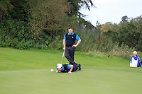 Cathal Kirby &amp; Eoin Ryan (Lisselan) on the 5th green during the AIG Jimmy Bruen Shield Final between Lisselan &amp; Waterford in the AIG Cups &amp; Shields at Carton House on Saturday 20th September 2014.<br /> Picture:  Thos Caffrey / www.golffile.ie