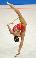 Oct 01, 2000; SYDNEY, AUSTRALIA:<br /> Yulia Raskina of Belarus performs with rope during rhythmic gymnastics final at 2000 Summer Olympics. Yulia took silver medal.