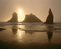 Sunset in fog over rock formations; Bandon Beach, OR