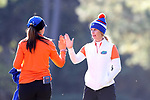 WILMINGTON, NC - OCTOBER 27: Florida head coach Emily Bastel Glaser (right) with Carlotta Ricolfi (ITA) on the 13th tee. The first round of the Landfall Tradition Women's Golf Tournament was held on October 27, 2017 at the Pete Dye Course at the Country Club of Landfall in Wilmington, NC.
