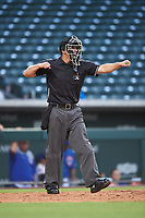 Home plate umpire Sean Sparling calls a batter out on strikes during an Arizona League game between the AZL D-backs and AZL Cubs 1 on July 25, 2019 at Sloan Park in Mesa, Arizona. The AZL D-backs defeated the AZL Cubs 1 3-2. (Zachary Lucy/Four Seam Images)