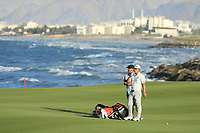 Kurt Kitayama (USA) on the 18th during the final round of the Oman Open, Al Mouj Golf, Muscat, Sultanate of Oman. 03/03/2019<br /> Picture: Golffile | Phil Inglis<br /> <br /> <br /> All photo usage must carry mandatory copyright credit (&copy; Golffile | Phil Inglis)