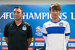 Gamba Osaka coach Kenta Hasegawa and forward player Takashi Usami attend press conference ahead of the 2015 AFC Champions League Quarter-Final 1st Leg match between Jeonbuk Hyundai Motors and Gamba Osaka on August 25, 2015 at the Jeonju World Cup Stadium, in Jeonju, Korea Republic. Photo by Xaume Olleros /  Power Sport Images