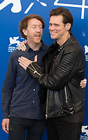 Chris Smith, Jim Carrey at the &quot;Jim &amp; Andy: The Great Beyond - The Story Of Jim Carrey &amp; Andy Kaufman With A Very Special, Contractually Obligated Mention Of Tony Clifton&quot; photocall, 74th Venice Film Festival in Italy on 5 September 2017.<br /> <br /> Photo: Kristina Afanasyeva/Featureflash/SilverHub<br /> 0208 004 5359<br /> sales@silverhubmedia.com